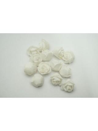 Роза 2,5 см фоамиран 90-100 шт в упаковке белая