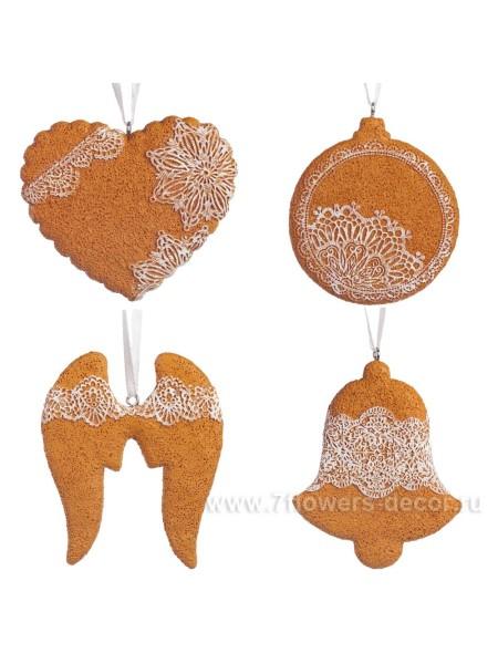 Елочное украшение Имбирное печенье 7 см пластик цвет коричневый Арт 535658