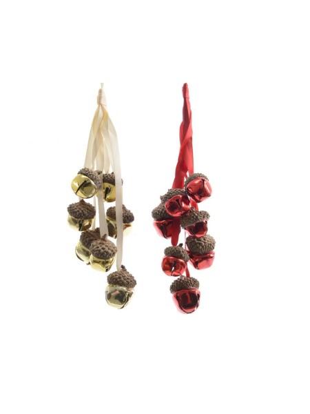 Елочное украшение Желуди-бубенцы 23 см металл в ассортименте цвет золото/красный Арт 385142