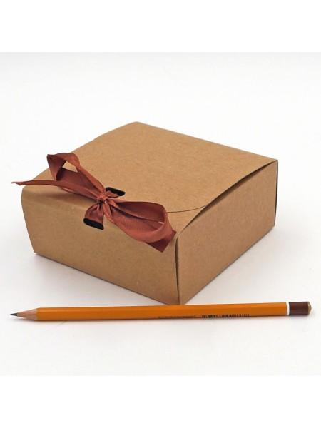 Коробка крафт складная с лентой 12 х 12 х 5 см HS-52-4