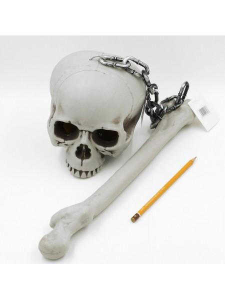 Булава из черепа и кости 80 см светящийся пластик Хэллоуин HS-4-47