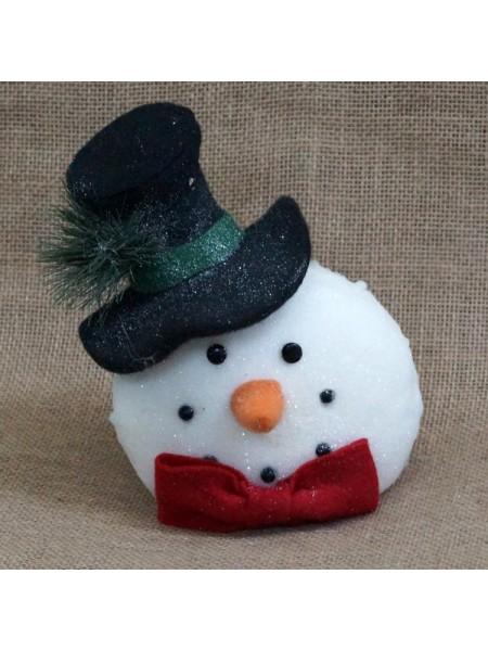 Голова снеговика в шляпе с бантом 25 х 17 х 25 см
