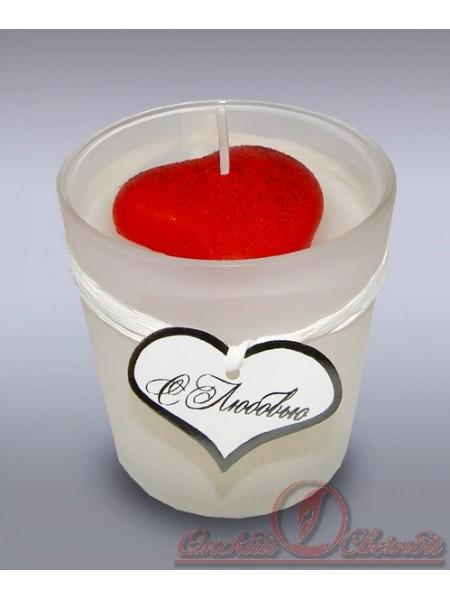 свеча в стекле Сердечко