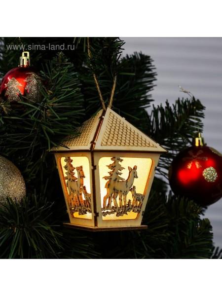 Декор с подсветкой Волшебный фонарь дерево 10×8×8 см