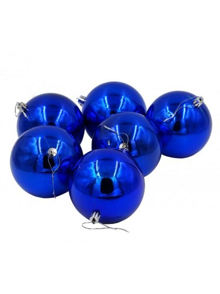 Шар 10 см набор 6 шт пластик глянцевый цвет синий HS-19-3 Новый год