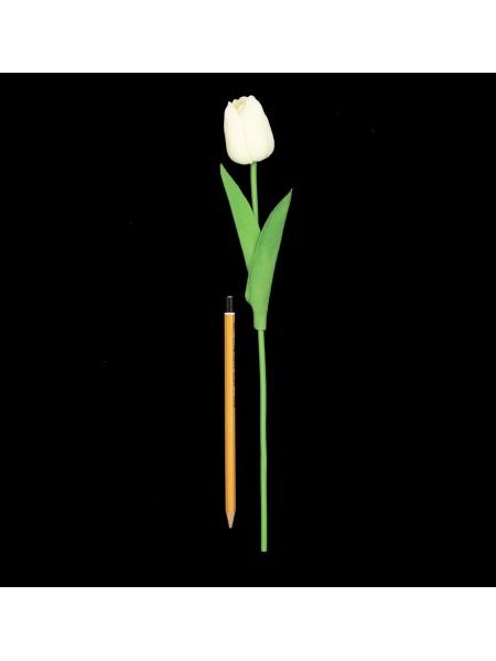 Тюльпан 33 см силикон цвет белый  1/10