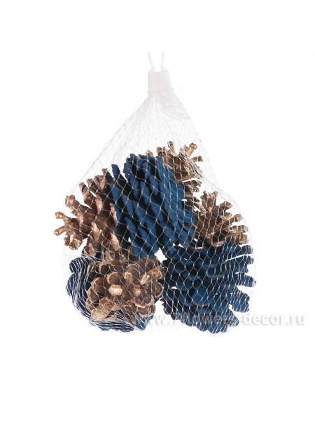Набор шишек 4шт синий-золото