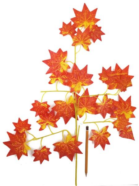 Ветка клена мелкий лист 60 см пластик цвет оранжевый  HS-0046-3