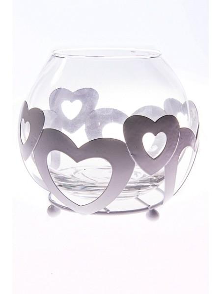 Подсвечник Сердечки 11 см стекло/металл белый