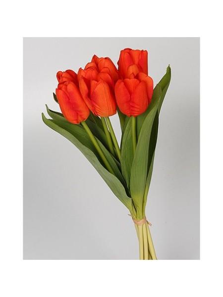 Тюльпаны в букете 36 см 7 шт красный
