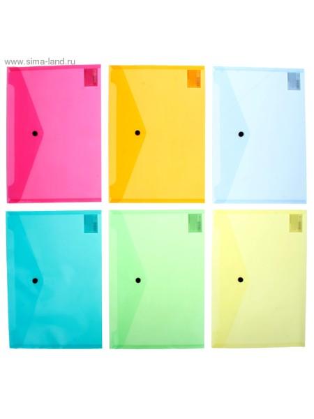 Папка-конверт с кнопкой А4 VISIOLINE 6 видов микс
