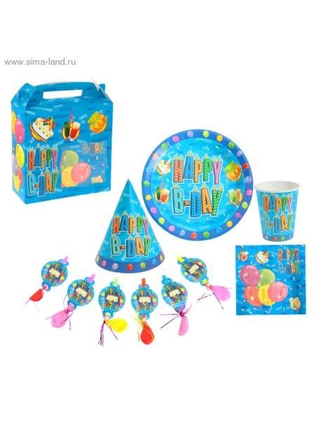 Набор бумажной посуды С Днем Рождения 6 комплектов