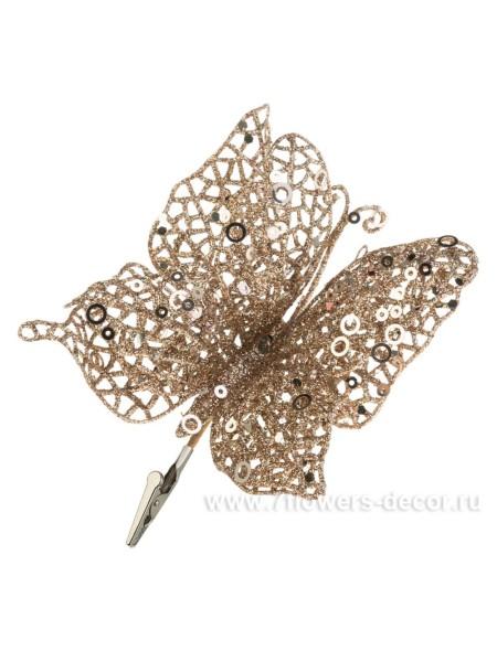 Бабочка Блеск на клипсе 13 см пластик цвет шампань новый год