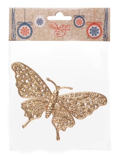 Бабочка золотая 16,7 х 10 см полипропилен  новый год