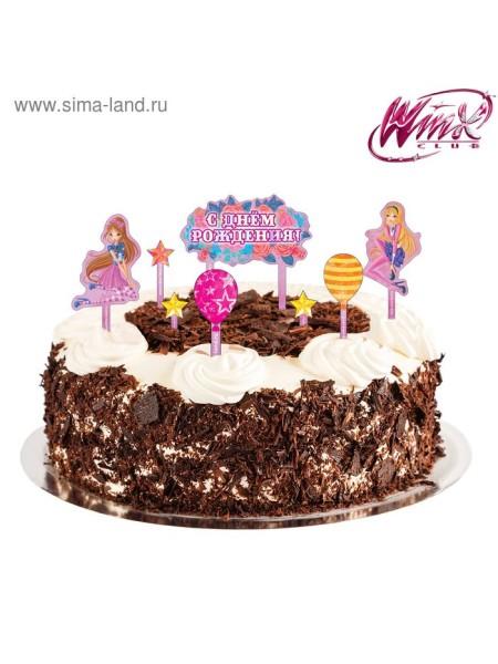 Набор для украшения торта С Днем рождения шарики феи Винкс