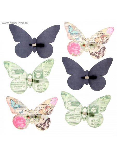 Набор декоративных бабочек Газетный на заколках 16,5 х 11,5 см