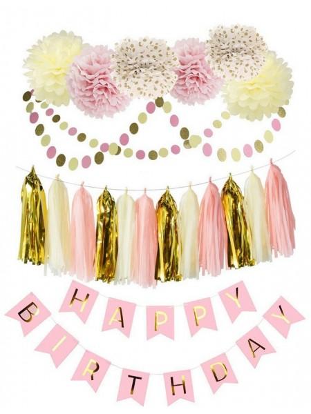 Набор для оформления роз-зол цветок объем 6шт кисточки 38шт гирлянда кружки 2м 2шт гирлянда флажки