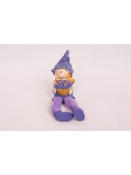 Мальчик-Девочка с лавандой 9 см полистоун цвет Фиолетовый