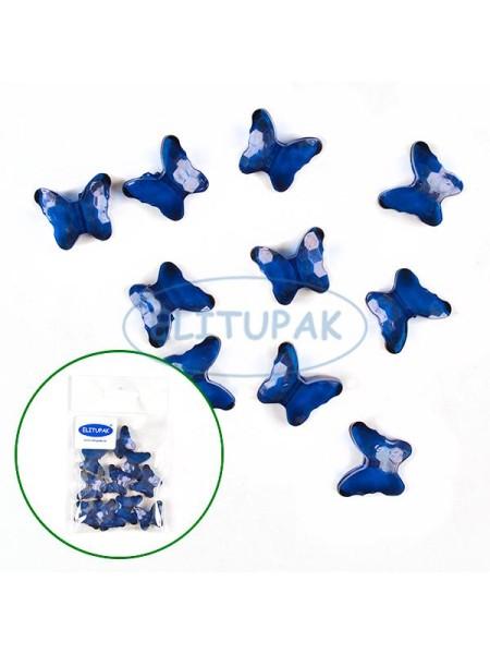 Кристаллы Бабочки цвет синий 10 шт