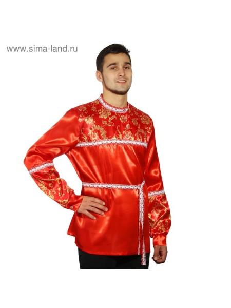 Русская рубаха мужская красная с кокеткой размер 52-54 рост 182 см