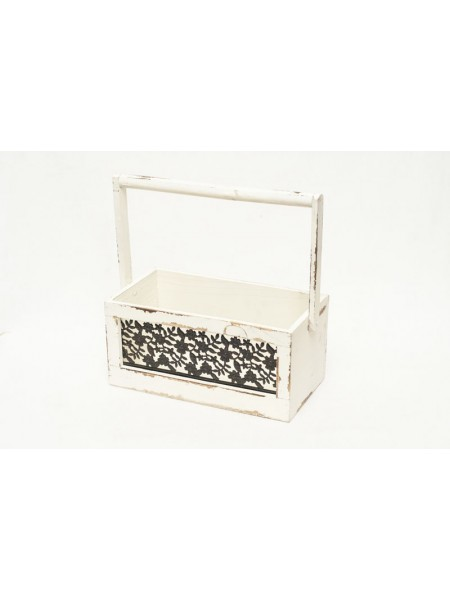 Ящик с узором деревянный с ручкой 14 х 14 х 27 см