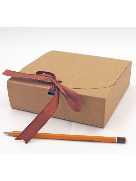 Коробка крафт складная с лентой 16 х 16 х 5 см цвет натуральный HS-52-5