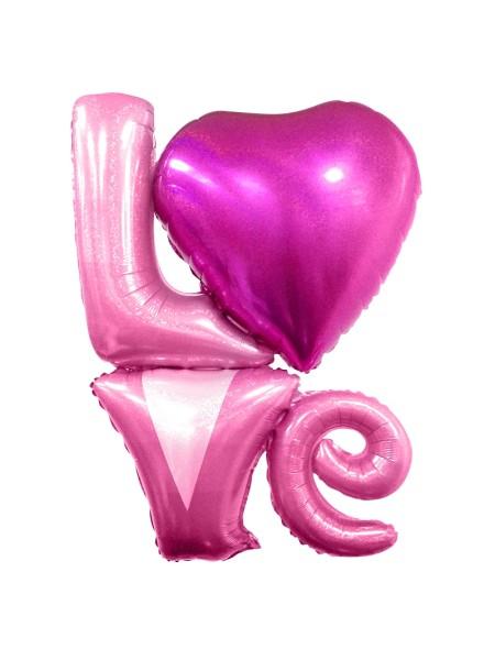 """Фольга шар фигура LOVE 41""""/104 см цвет розовый Голография"""