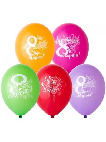 """12"""" шар воздушный с рисунком 8 Марта Цветы"""