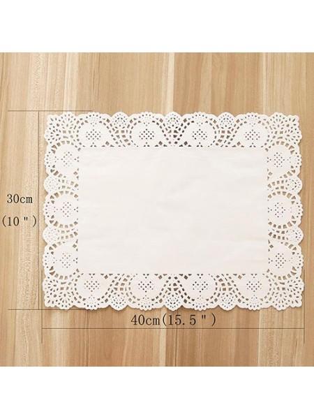 Салфетки ажурные 30 х 40 см прямоугольные белые набор 100 шт HS-38-18
