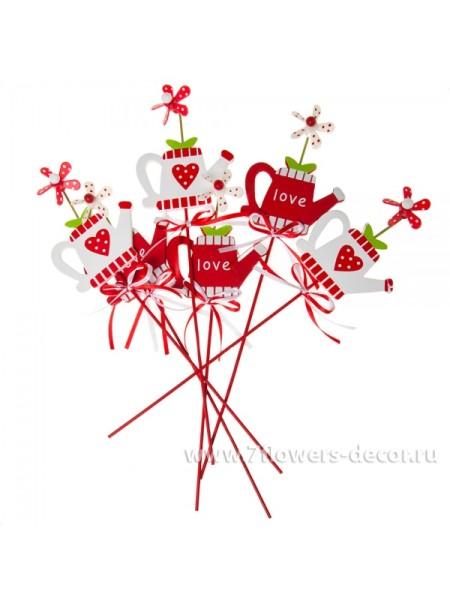 Лейка на вставке дерево цв Красный/Белый