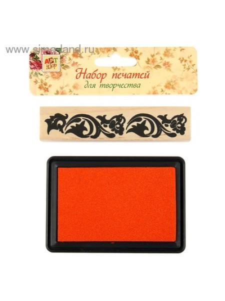 Набор Узорные цветы печать 10,3 х 2,3 штемпельная подушка 10 х 7 см набор 2 шт