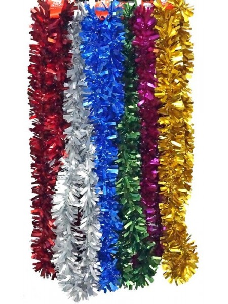 Мишура 2 м х 9 см матовая цвет микс
