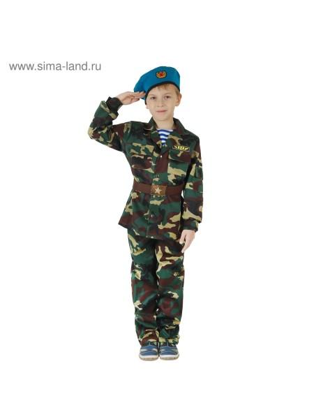 Карнавальный костюм ВДВ рост 152 китель с манишкой/брюки/берет/ремень