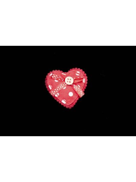 Сердце на липучке набор 6ш 5см ткань цв Красный