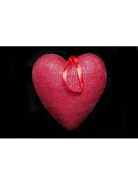 Сердце подвеска пластик 29,5*28,5*6,5см цв Красный