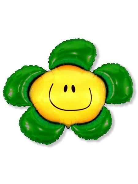 """Фольга шар Цветочек солнечная улыбка зеленый  41""""/102,5 см 1шт Испания"""
