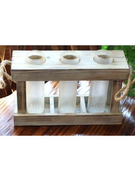 Три колбы-вазы в деревянной раме Белый иней  15,5 х 24,5 см