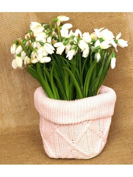 Кашпо-сумка для цветов вязанная с бортиком Орнамент