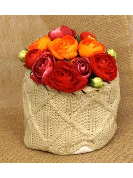 Кашпо-сумка для цветов вязанная с бортиком Орнамент жесткий край