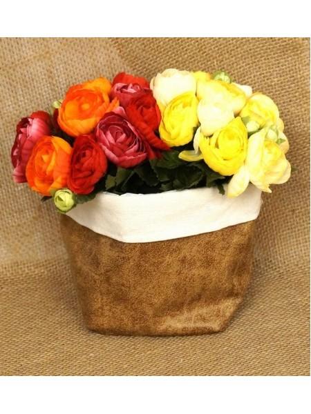 Кашпо-сумка для цветов искусственная кожа