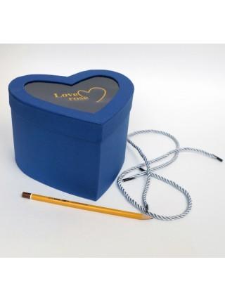 Коробка картон Сердце с прозрачным верхом 18 х 12 см