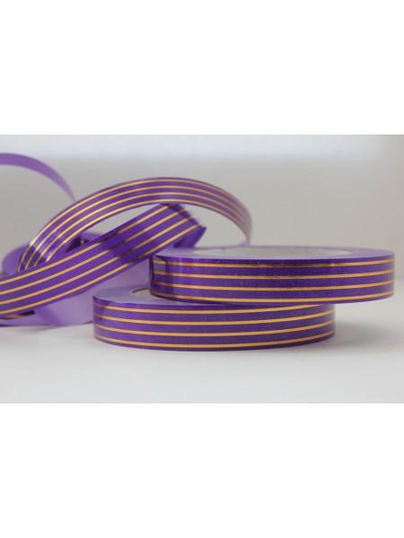 Лента с золотой полосой 2см*50ярд Многополоска А274 цв.фиолетовый