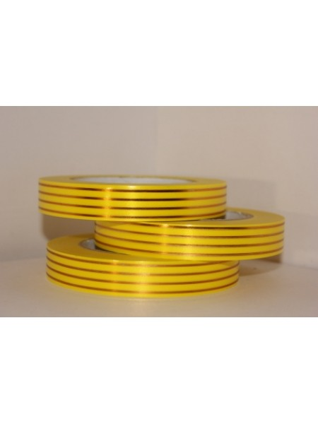 Лента с золотой полосой 2см х 50ярд Многополоска А275 желтый