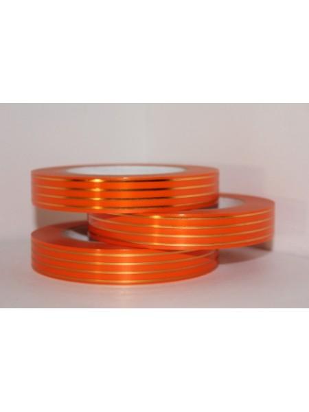 Лента с золотой полосой 2см х 50 ярд Многополоска А296 оранжевый