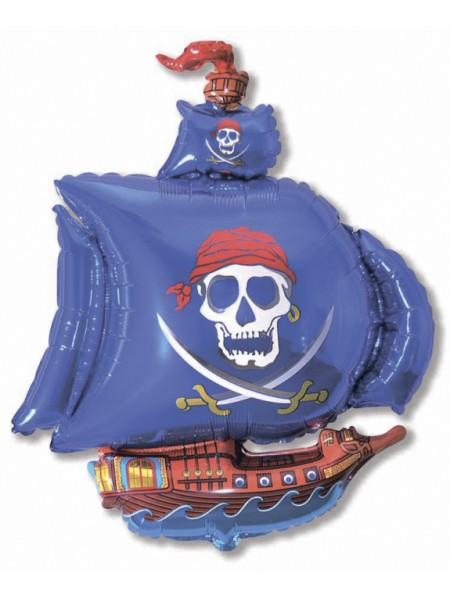 """Фольга шар Пиратский корабль синий 14""""/35 см 1шт Испания"""