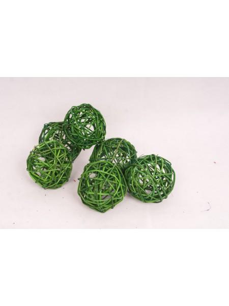 Шар плетеный ротанг D8 см набор 6 шт цвет Зеленый