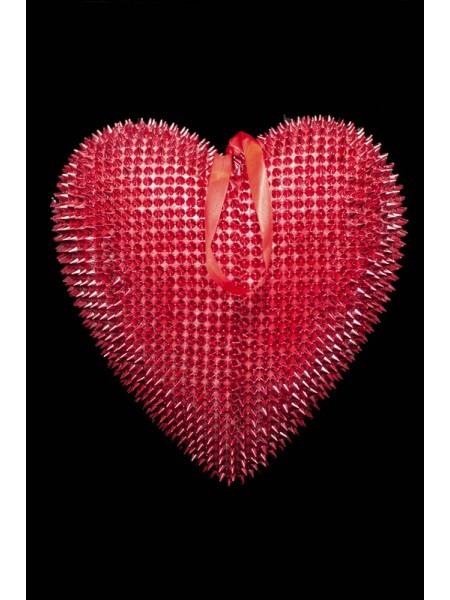 Сердце подвеска пластик 30,5*29*7см цв Красный
