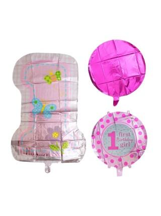 Набор шаров Первый День рождения малышки фольга набор 5 шт