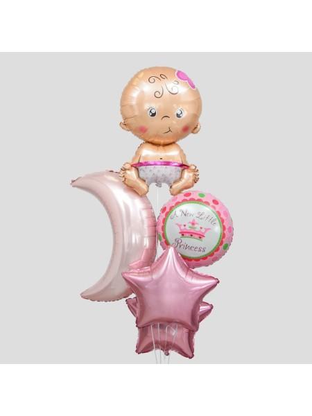 Букет шаров С рождением девочки набор 5 шт фольга