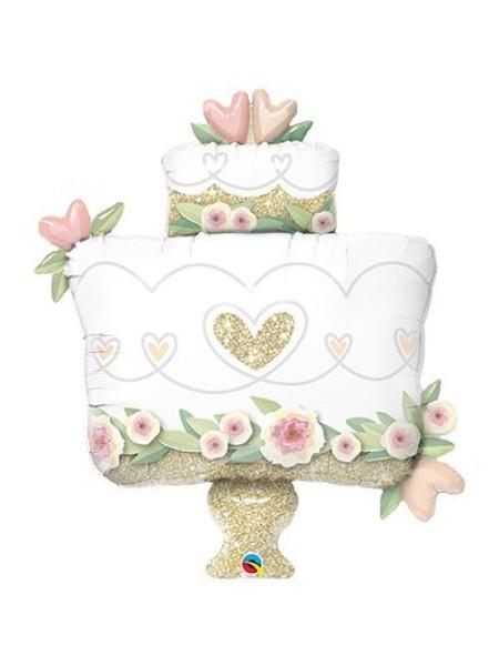 """Фольга шар фигура 6 Торт Свадебный 41""""/104 см Qualatex"""